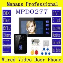 "7 ""RFID Videoportero Intercom Timbre Táctil Botón de Desbloqueo A Distancia de La Visión Nocturna + de Metal Sistema de Cerradura Electrónica Kit D277a"