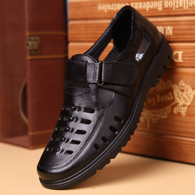 Men Sandals Casual-Shoes Male Plus-Size Genuine-Leather Men's High-Quality Brand Non-Slip
