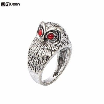 Vintage Silver Color Bague Homme Knuck Ring For Men Fashion Cool Punk Crystal Eye Owl Finger Ring Party Jewelry Gift image