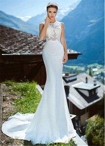 Image 3 - Romantique o décolleté transparent robe de mariée sirène avec Appliques de dentelle Illusion dos sirène robe de mariée vestidos de 15