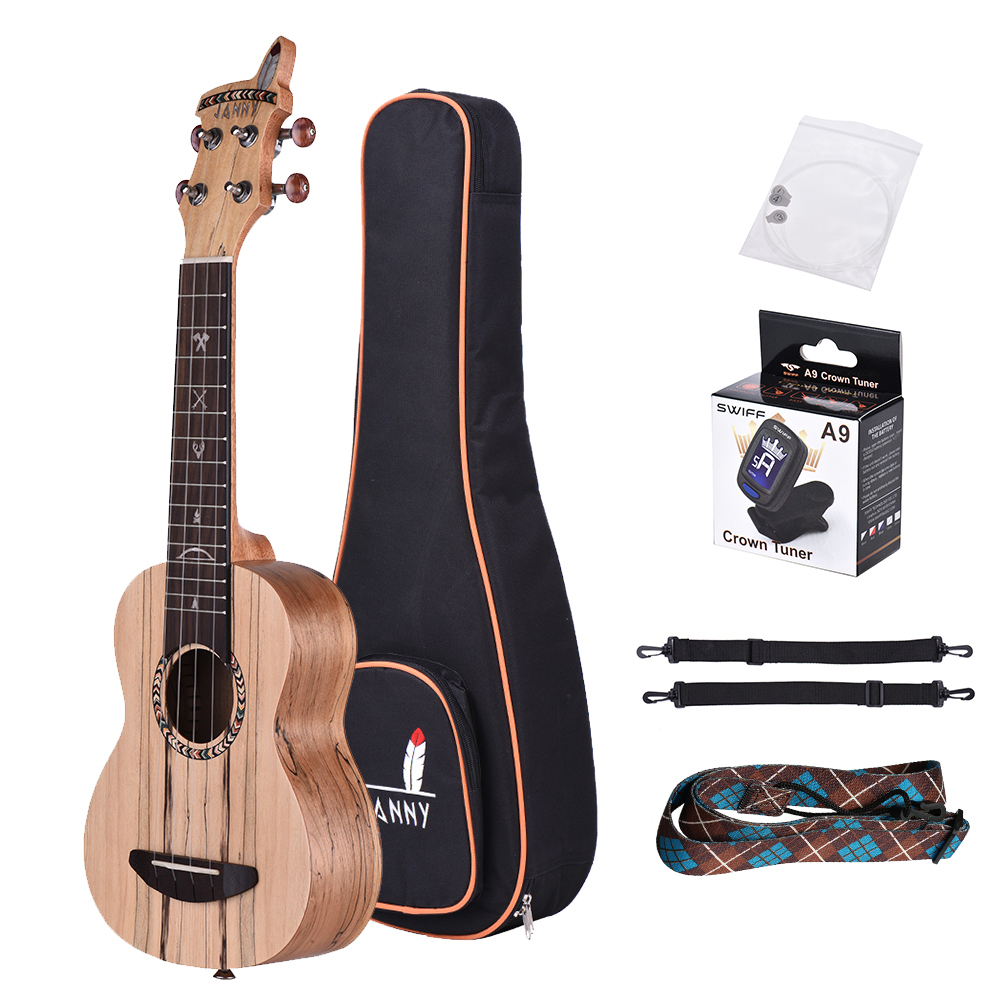 Soprano 21 Ukulele Acoustic Ukelele Spalted Maple Wood Carbon String with Padded Carrying Bag Strings Strap