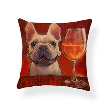 "French Bulldog ""Make Time For Wine"" Pillow Case"
