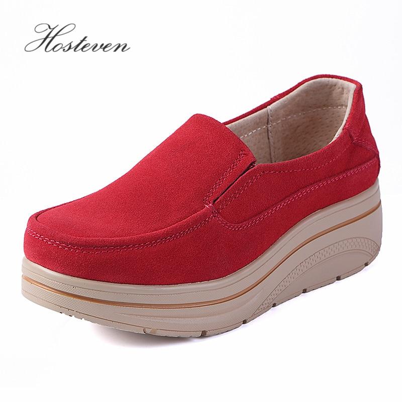 6d5d845c Comprar Zapatos de mujer Hosteven zapatillas de cuero de gamuza de vaca  plataforma plana primavera otoño mocasines de mujer zapatos de mujer Online  Baratos