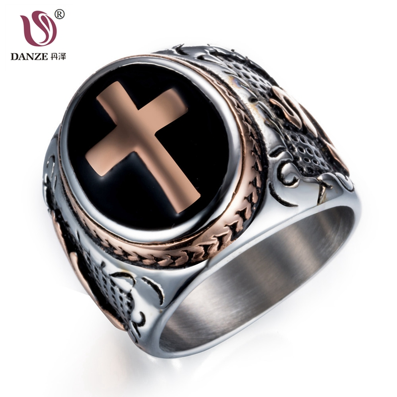 DANZE Knight Templar Crusaders Logo Mens Signet Rings Cross Titanium Steel Medieval Anel Masculino Jewelry For Gifts Size 7#-13#