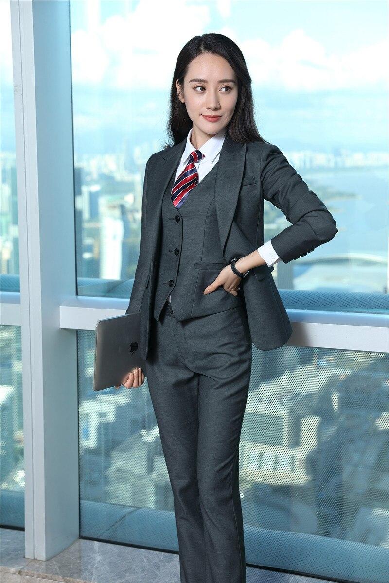 2018 New Styles Fashion Gray Uniform Designs Pantsuits Ladies Office ...