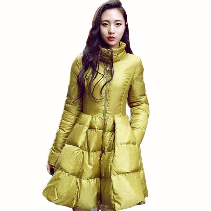 Liva Girl New Fashion Women Winter Down Jackets Warm Long Slim Coat And Jacket Female Big Swing Yellow/black Ladies Snow Outwear