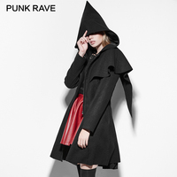 PUNK RAVE Gothic Elf Worsted Coats Women Halloween Witch Black Velvet Clothing Casual Cape Hooded Winter Cloak Coat Vintage