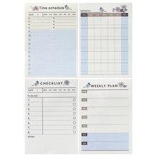 60 folhas/almofada criativo plano semanal memo pad para fazer lista de tempo pegajoso nota horário escritório e escola material de papelaria