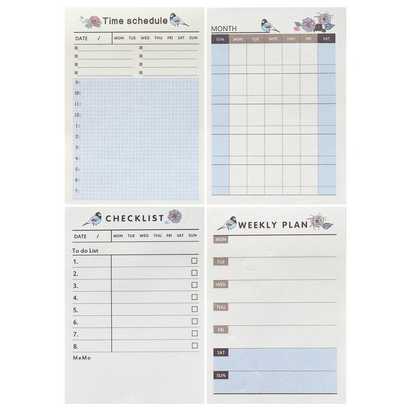 60 folhas/almofada diário criativo plano semanal bloco de memorando para fazer a lista de tempo pegajoso nota agenda escritório e material escolar papelaria