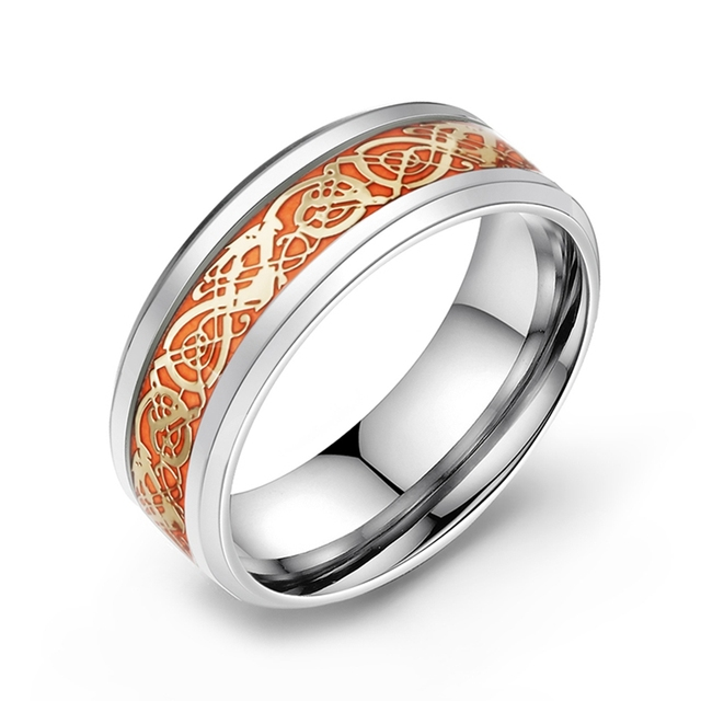 Stainless Steel Glow in the Dark Ring 6
