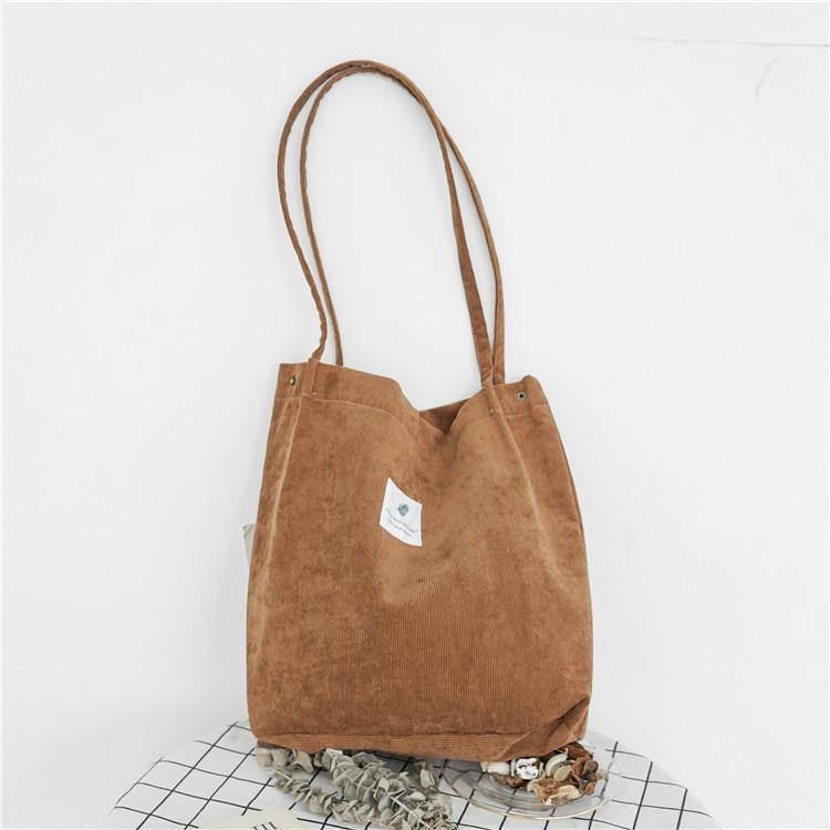Women Corduroy Canvas Shoulder Bags Female Eco Cloth Handbag Tote Grocery Reusable Foldable Shopping Bag Cotton Lining Pouch