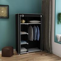 64 Portable Closet Storage Organizer Non woven Fabric Cover Wardrobe Clothes Rack With Shelves Black Brown Gray Beige