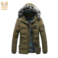 c0023cdccfd79 Tang fresco 2018 nueva llegada chaqueta de invierno hombres moda caliente  capucha de piel Parkas hombres Casual algodón acolchad.