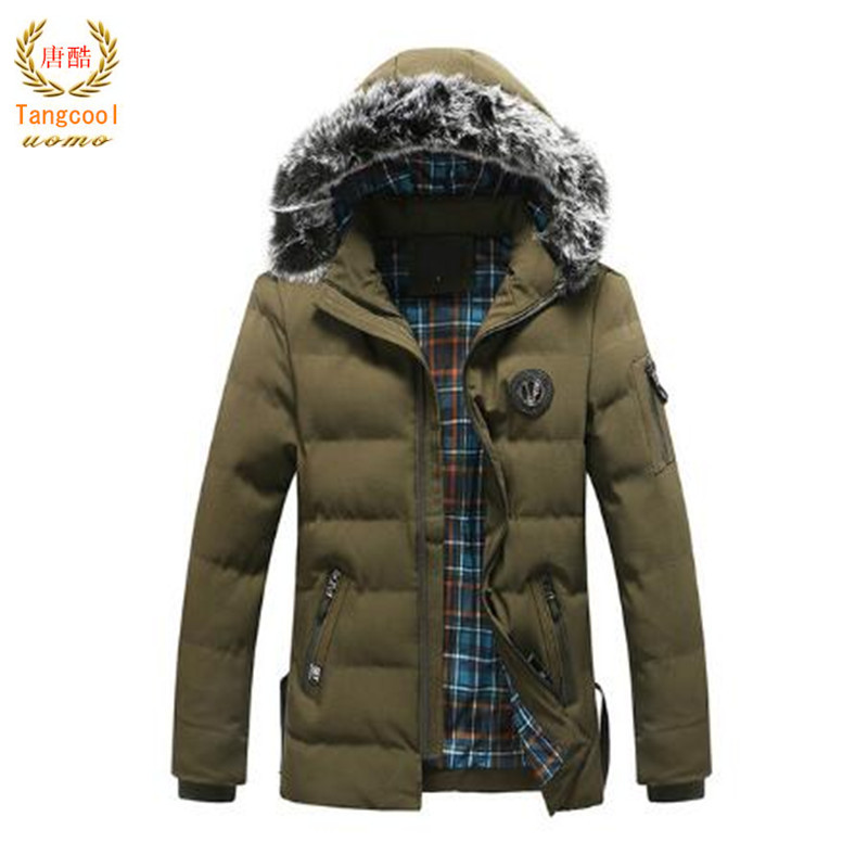 Tang cool 2018 New Arrival Winter Jacket Men Fashion Warm Fur Hood Mens Parkas Casual Cotton Padded Heavy Coats Brand Outerwear