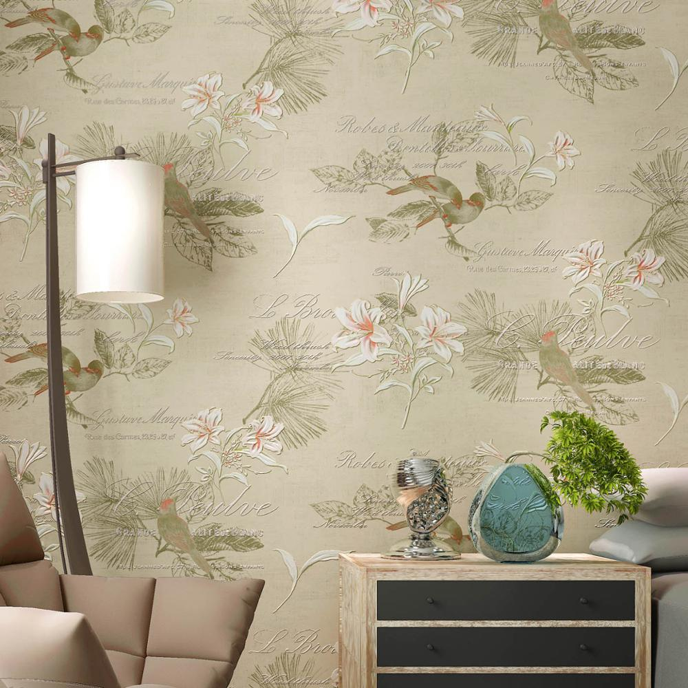 Sale Classic Chinese Sryle Birds And Flowers Wallpaper 3d Embossed Wall paper Roll For Walls 3 D Living Room Study Home Decor 10m modern 3d embossed background wallpaper roll desktop decor wallpapers living room wall paper for walls home hotel decoration