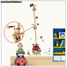 1 PCS Pirate Ship Height Meter Sticker For Kids Room Bedroom Measurement Wall Stickers Home Decor 50*70cm