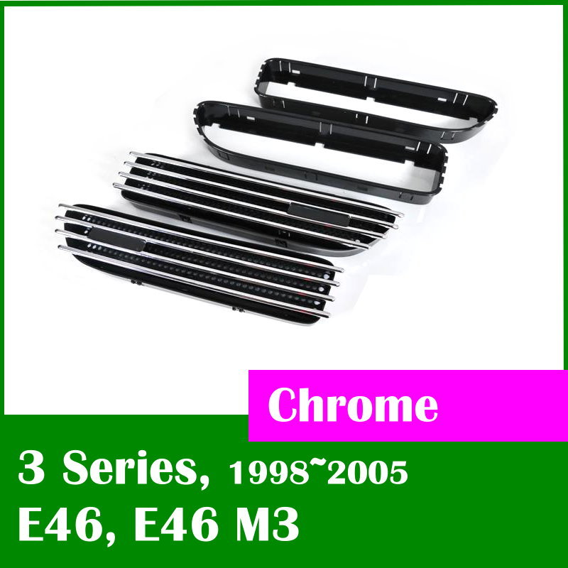 DASH Fender side grille vent Chrome molding for BMW E46 additional shell for easy installation