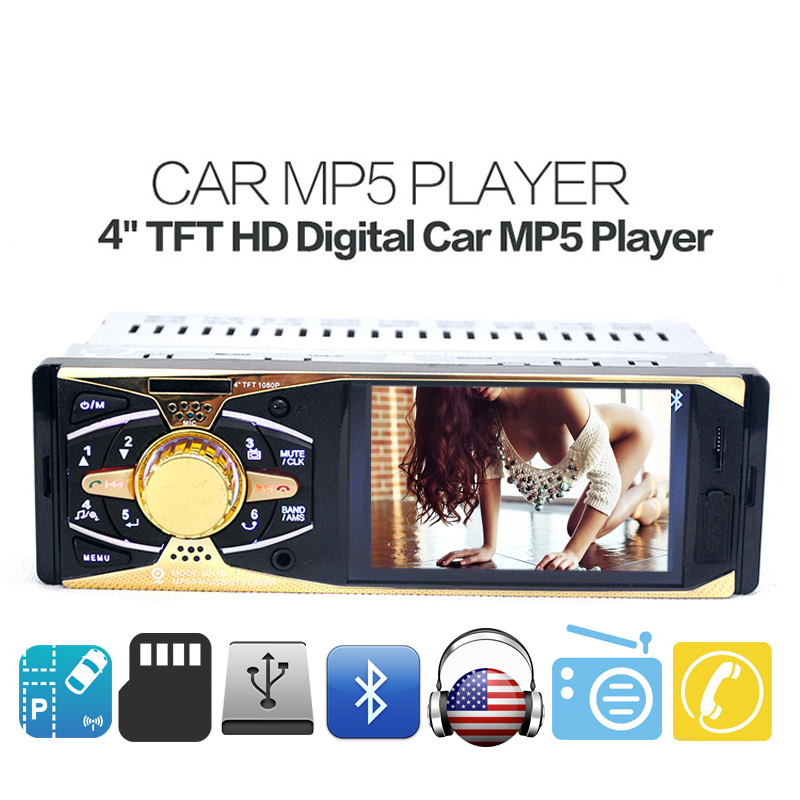 ФОТО 4 Inch TFT HD Digital Screen Car MP5 MP4 MP3 Player Bluetooth Handfree FM Radio USB SD Player AUX-In Audio 1 DIN