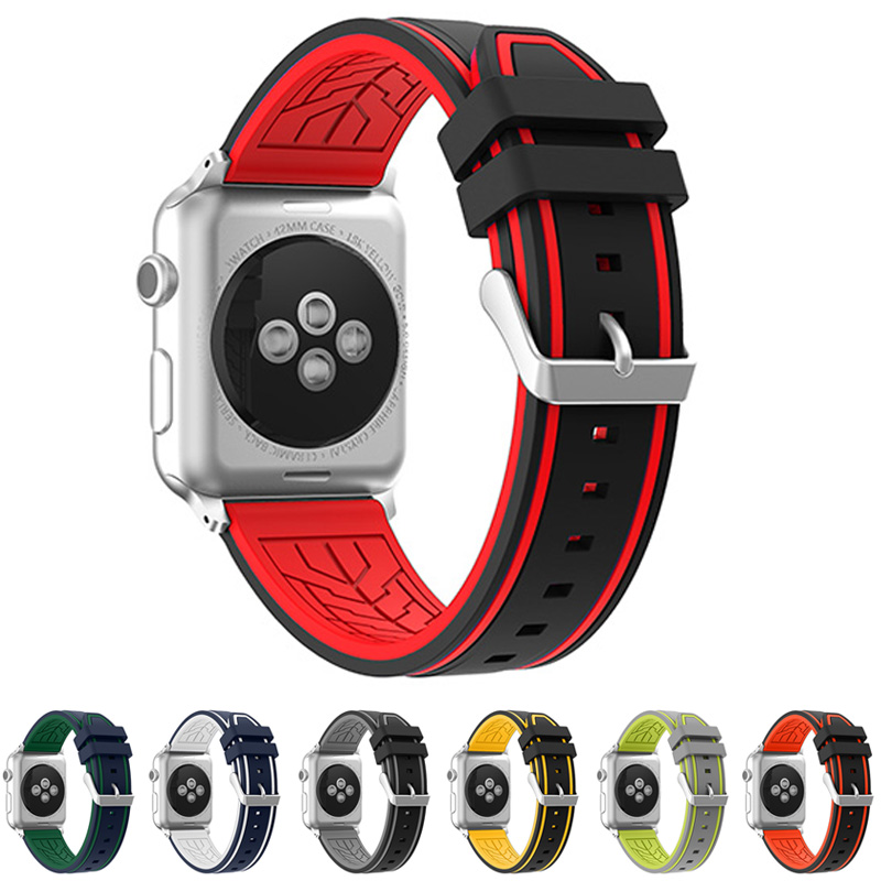 купить neway 2017 Rubber Strap Watchband For Apple Watch Iwatch band 38mm 42mm series 1 & 2 Silicone Sport Wristband Replacement belt дешево
