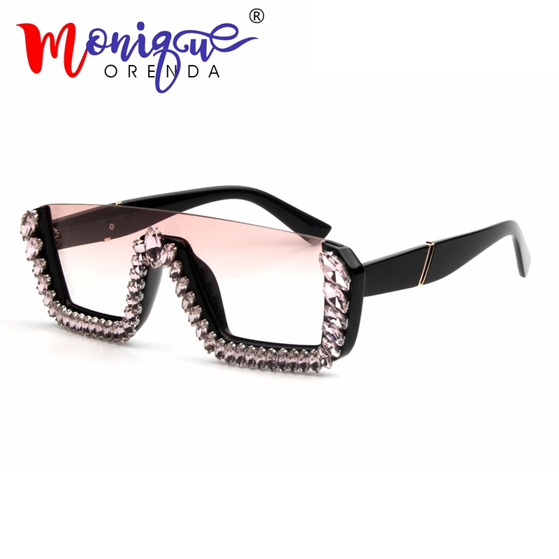 Crystal Sunglasses Square Oversized Big-Frame Designer Women Brand Ladies UV400 For Female