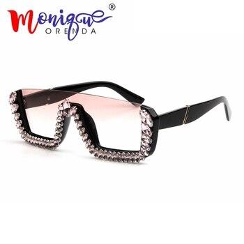 Carré luxe lunettes de soleil femmes marque Designer dames surdimensionné cristal lunettes de soleil hommes grand cadre lunettes pour femme UV400