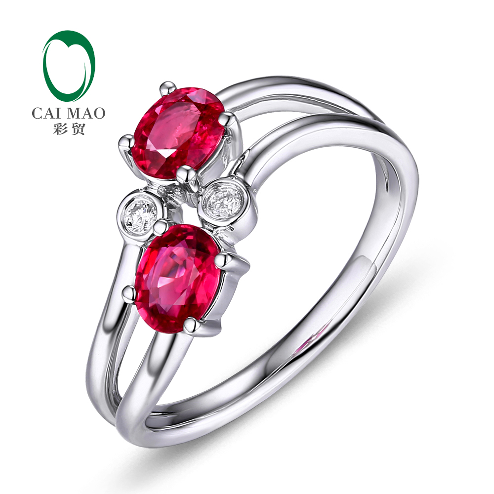 Caimao 18Kt/750 White Gold 1.04ct Natural Ruby 0.06ct Diamond Engagement Ring Jewelry Gemstone