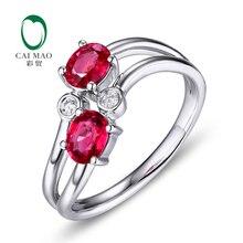 Caimao 18Kt 750 White Gold 1 04ct Natural Ruby 0 06ct Diamond Engagement Ring Jewelry Gemstone