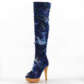 SHOFOO shoes,2018 new free shipping, colored denim, 12.5 cm high heel boots, over-the -knee boots.SIZE:35-47