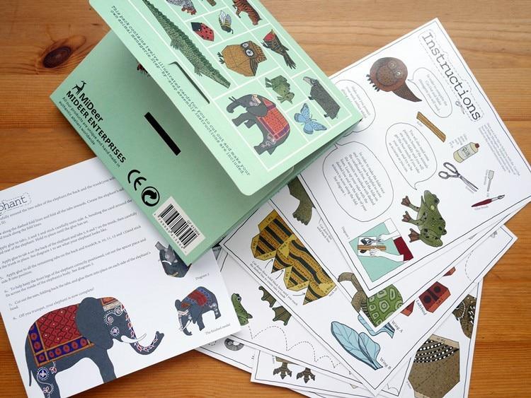 12pcs / pack životinja kartona 3D zagonetke / DIY rezati knjigu / - Igre i zagonetke - Foto 5