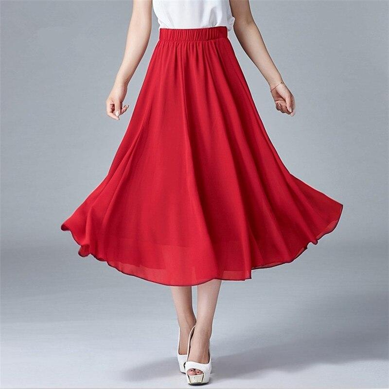 f491bf4a6 2019 ropa de mujer faldas de gasa de oficina nueva moda sólida A-Line talla  grande M-7XL cintura elástica Casual faldas de verano slim