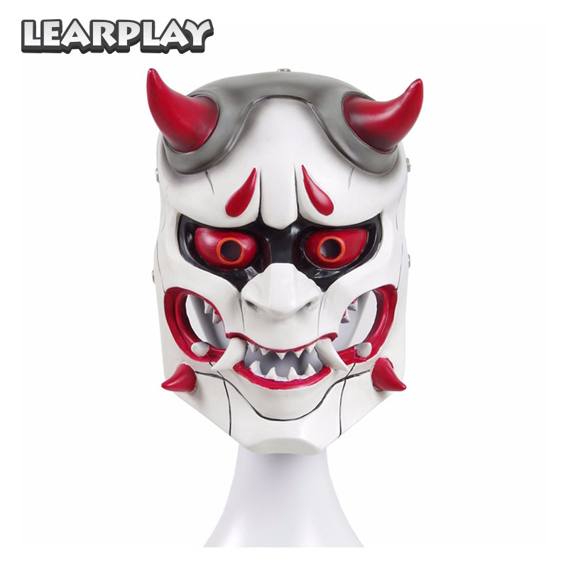 OW Genji Skin Evil Ghost Mask Cosplay Costume Accessories Japan Prajna Scared Face Cover Party Game Christmas Halloween  Props