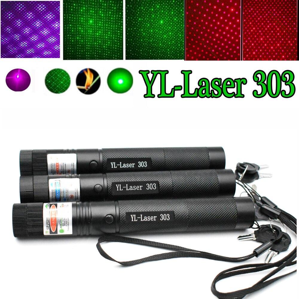 Green Laser Red Laser Blue Pointer Sight Powerful Device Adjustable Focus Lazer Laser 303, Choose Charger & 18650 Battery