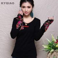 Kyqiao rocznika damska wiosna etniczne retro haft czarny t koszula z długim rękawem marki podkoszulek chiński clothing store
