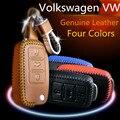 Car Leather Remote Control Car Keychain Key Case for Volkswagen Lavida Sagitar Bora PASSAT polo Tiguan