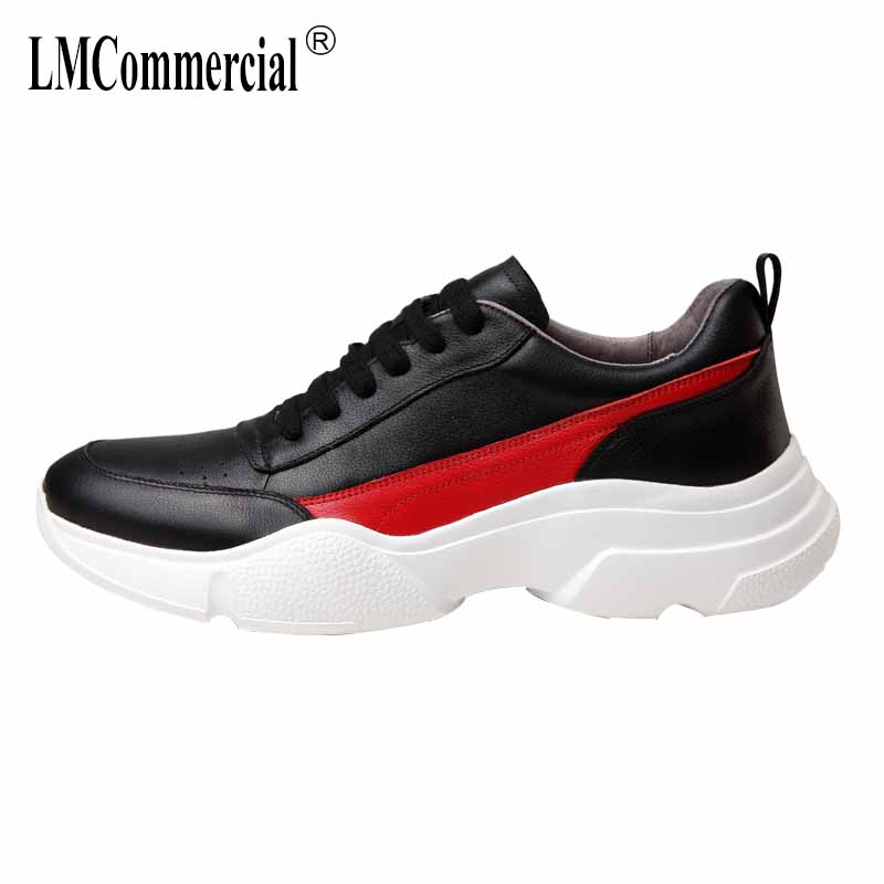 autumn winter British men's casual leather shoes real leather sneakers men thick-bottomed fashion all-match cowhide mens shoes the first layer of leather shoes and a pedal comfort all match full leather comfortable foot leather bottomed women shoes
