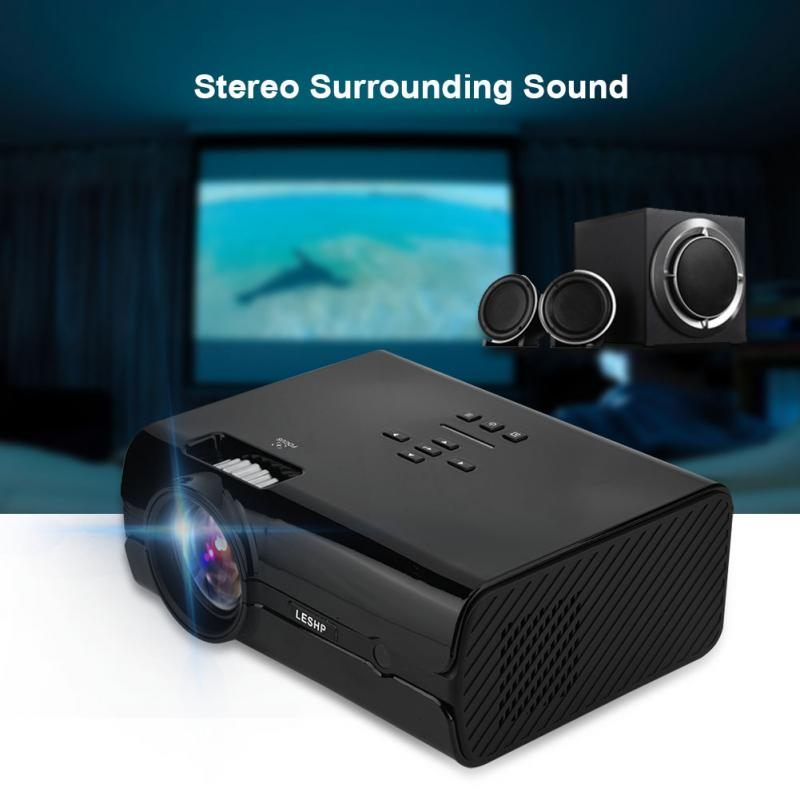 Office Mini Projector 16.7K HD 1000:1 AV/VGA/USB/SD Card/HDMI/TV Input Home Theater Projector-US Plug gm50 1080p hd home theater led projector w sd hdmi vga av usb white black eu plug