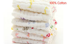 100% Cotton Gauze Newborn Baby Infant Cartoon Face Hand Bathing Towel Bibs 27*27cm Feeding Square Towels Handkerchief(China)