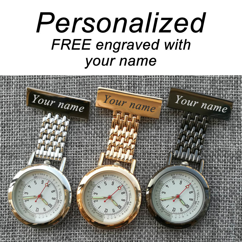 Personalized Your Name FREE Engraved Pin Brooch BIG Count Pluse Meter Dial Luminous Hands Top Quality Stainless Fob Nurse Watch(China)