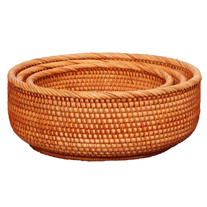 Image 5 - Handmade Natural Bamboo Weaving Wicker Basket Set Round Hollow Creative Storage Container For Fruit Food Bread Large Kitchenware