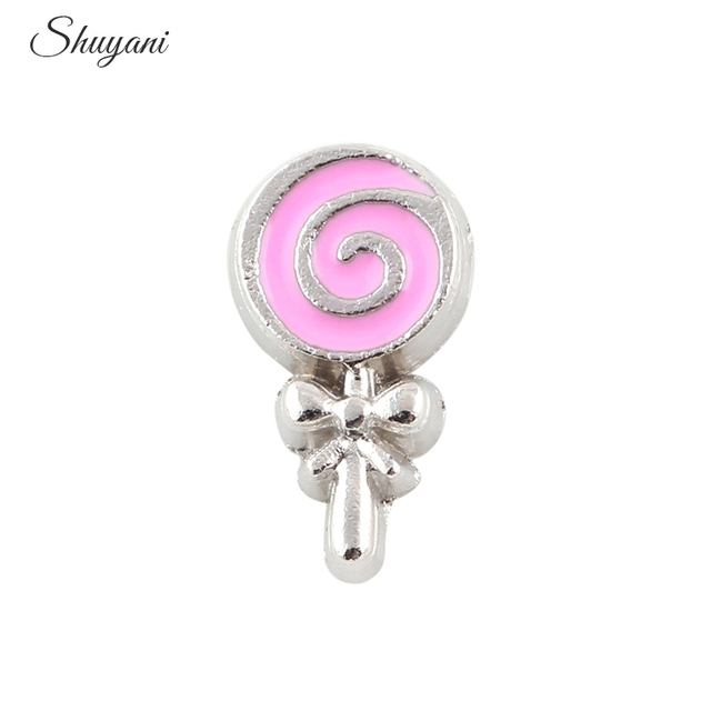 Newest 20pcs Enamel Kids Lollipop Candy Charms Fit Floating Magnet Living Glass Locket Pendant Accessories