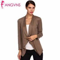 ANGVNS Women Cardigan Scarf Collar Autumn Winter Top Midi Coat Casual Long Sleeve Single Button Elegant