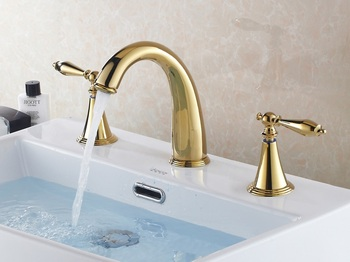 Free Shipping Gold Ti-PVD Two Handles Mid-east Style Brass Bathroom Vanity Sink / Basin Torneira Cozinha Faucets Mixers Taps