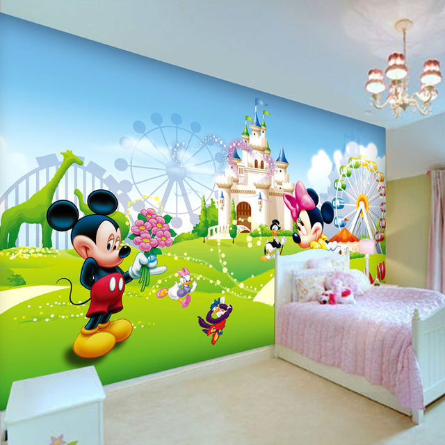 Lovely Mickey U0026 Minnie Photo Wallpaper 3D Wall Mural Cartoon Wallpaper Boys  Kids Girls Room Decor Part 42
