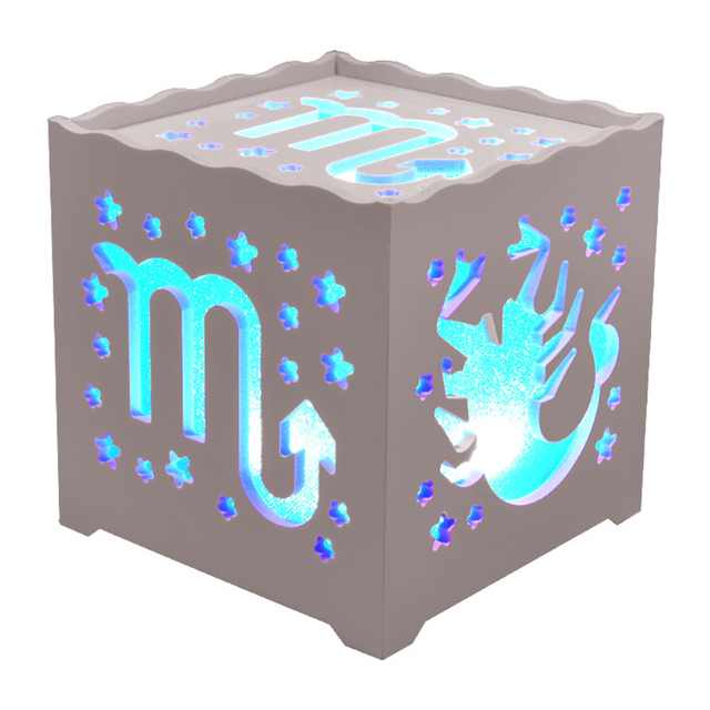 New Creative 12 Constellations Romantic Night Lights Blue Led Cube Table Lamp Decorative Gadget Home Baby Lights