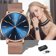 LIGE  Women Watches 2018 Fashion Ladies Wristwatch Casual Grid Steel strap Ultra thin Quartz Watch Waterproof  Relogio Feminino