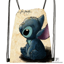Custom Cartoon Lilo & Stitch Kiss Drawstring Backpack Bag Cute Daypack Kids Satchel (Black Back) 31x40cm#180531-02-03