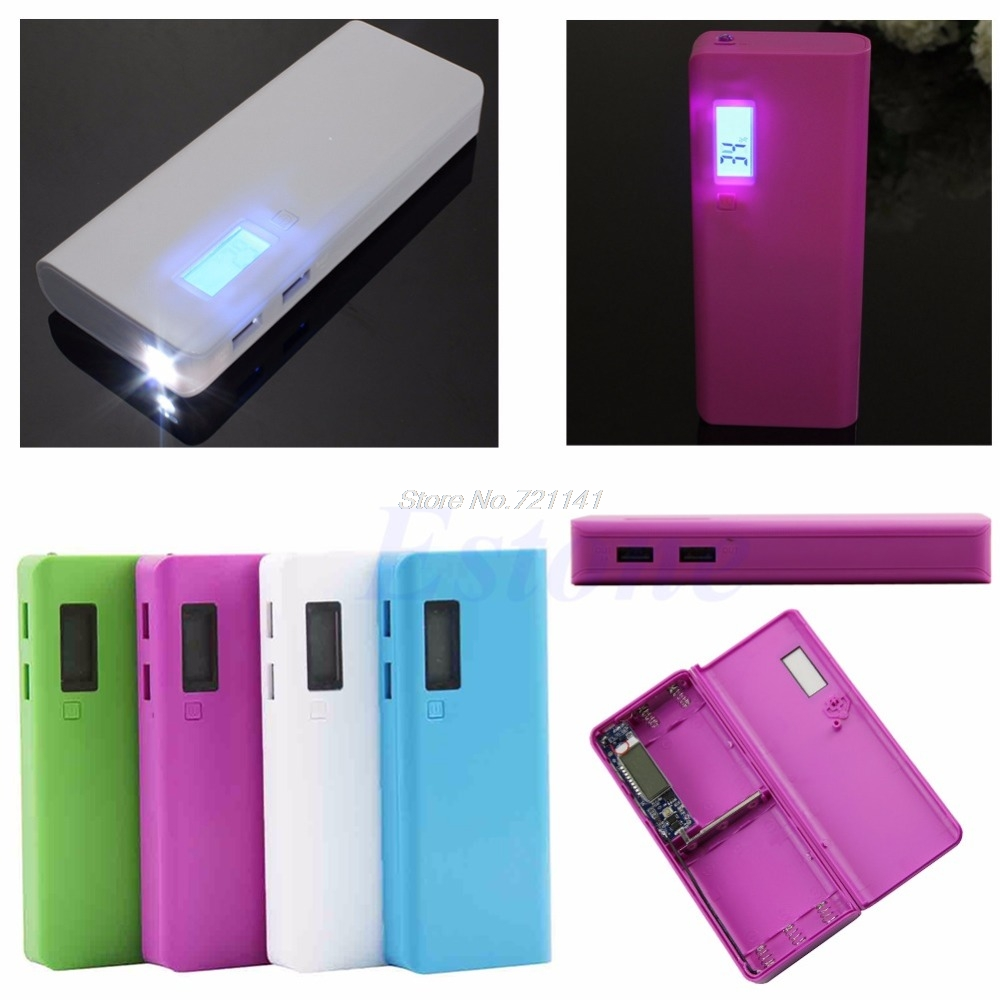 1 PC For IPhone LED 5x 18650 Dual USB Power Bank Battery Charger Case DIY Box Holder Electronics Stocks
