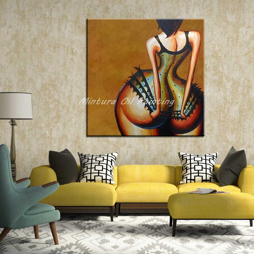 Mintura Handpainted Sexy Woman Oil Painting On Canvas Modern Abstract Picture Wall Art For Living Room Home Decoration No Framed