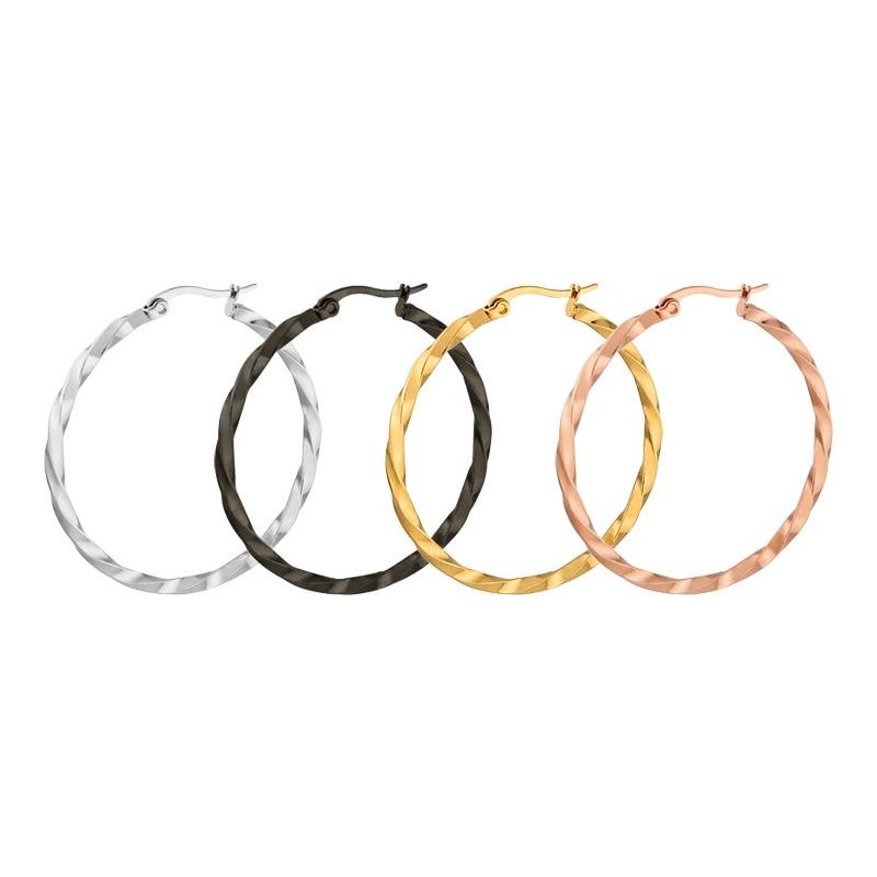 FairLadyHood Gold Color Stainless Steel Large Hoop Earrings For Women