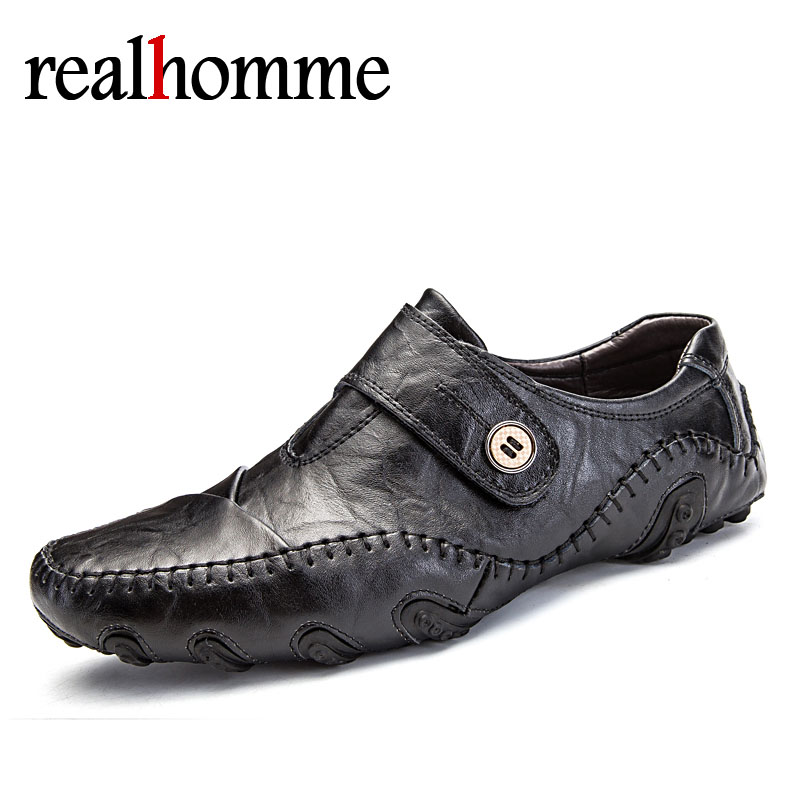 RealHomme Fashion Breathable Handmade Loafers Mens Shoes Brand Men Crocodile Leather Soft Bottom Octopus Flats Black Brown Shoes 2016 new style crocodile mens casual shoes real leather comfortable rubber soft bottom men loafers basic flats for bsiness z626